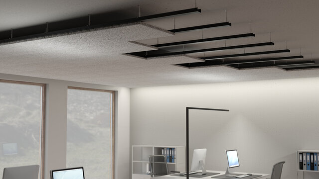 Acoustic noise reduction panels made of wood wool fibres mounted at the ceiling of an office for acoustic insulation 2 close view of the mounted ceiling