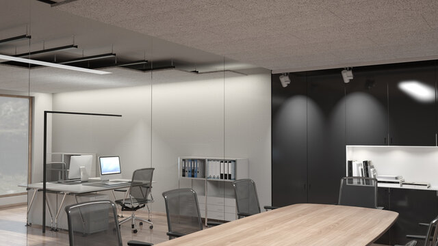 Acoustic noise reduction panels made of wood wool fibres mounted at the ceiling of an office for acoustic insulation 1