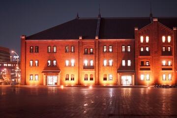 横浜みなとみらい 赤レンガ倉庫の夜景 Fotomurales