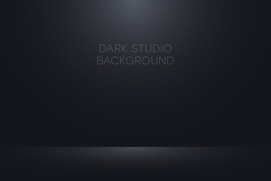 Black studio background. Realistic empty dark studio room. Background for product display show or place for presentation. Vector.