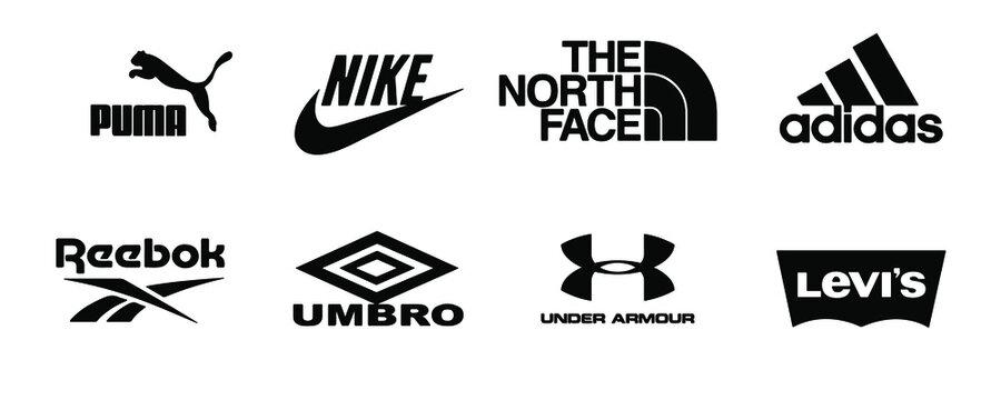 Nike. Top logos of popular sportswear brands: nike, umbro, adidas, reebok, puma, under armour, levis, the north face. Editorial vector illustration. Vinnitsa, Ukraine - October 19, 2020