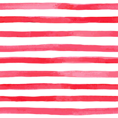 Beautiful seamless pattern with horizontal red watercolor stripes. hand painted brush strokes, striped background. Vector illustration