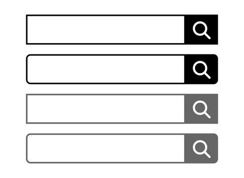 検索窓 検索バー 検索枠 検索ボタン 検索ボックス 虫眼鏡 アイコン 黒 灰色 search window. Search box. Search engine.