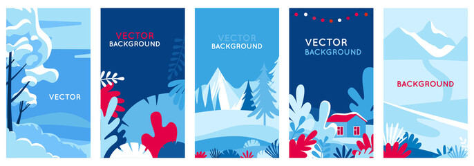 Winter landscapes - vertical banners and wallpaper for social media stories. Vector illustration in flat simple style - design templates with copy space for text - merry Christmas