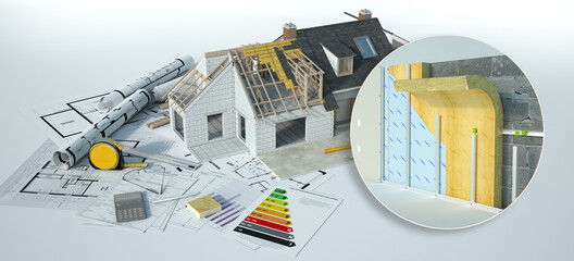 Obraz Home insulation construction details - fototapety do salonu