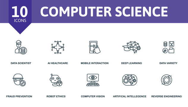 Computer Science icon set. Collection contain engineering, ethics, fraud, prevention, artificial, intelligence and over icons. Computer Science elements set.
