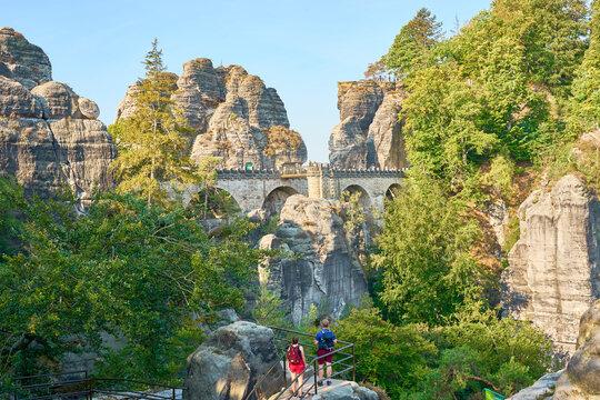 Elbsandstein Mountains in Saxon Switzerland - East Germany. Famous area of Bastei Bridge.