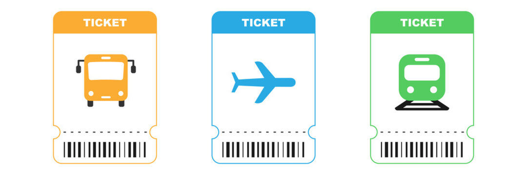 Travel tickets for bus, plane and train. Isolated subway and railway pass card. Airplane ticket with barcode on white background. Transport pictogram in orange, blue and green colors. EPS 10.