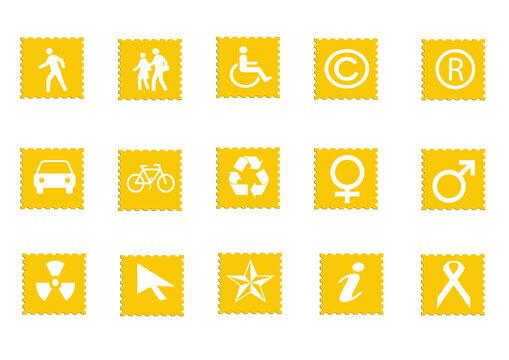 Web icon set in yellow rectangle button, various icon set