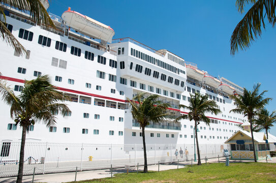 Cruise Ship Moored in Freeport on Grand Bahama Island
