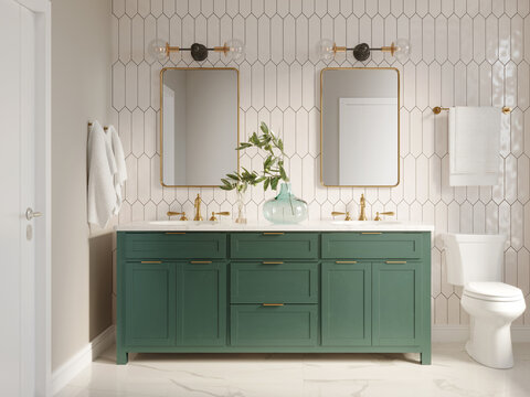 3d modern contemporary chic beige bathroom with two rectangle brass mirrors and a green cabin