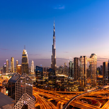 Magnificent view of the Dubai at dusk, UAE
