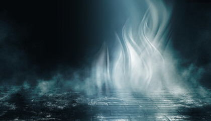 Dark abstract background. Empty dark street background at night. Spotlight reflects on the asphalt. Smoke, fog. 3d illustration Fotomurales