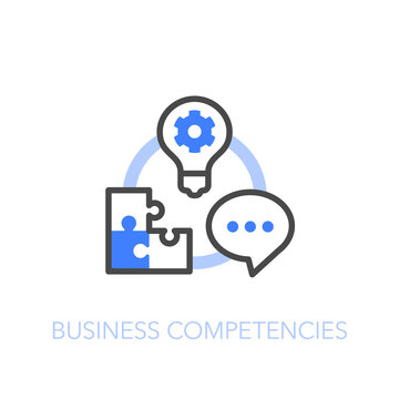Business competencies symbol with a circle of three competencies - communication, thinking and team building. Easy to use for your website or presentation.