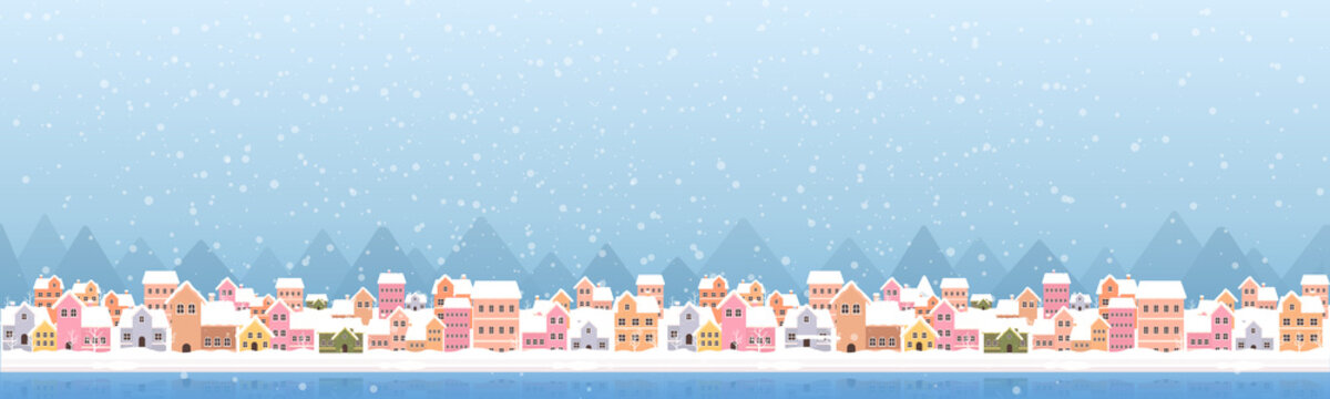 Winter town flat style with snow falling and mountain abstract background