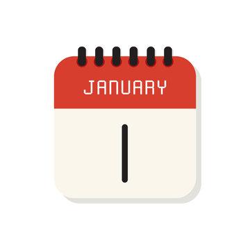 Calendar 1st of January flat icon