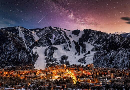 Aspen city skyline with milky way