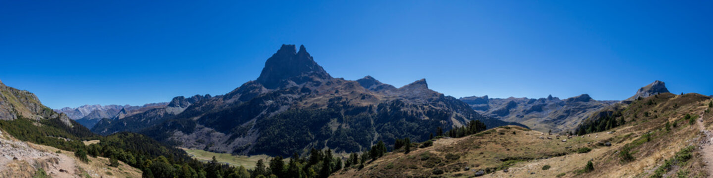 Panorama of Ossau Valley with Pic du Midi d'Ossau mountain, Pyrenees National Park, France