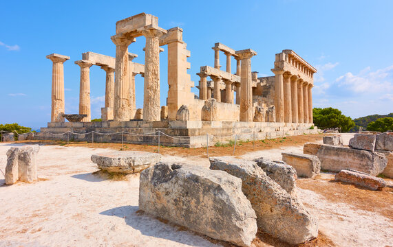 Ruins of the temple of Aphaea in Aegina island
