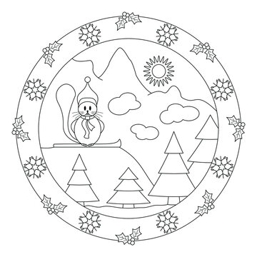 Little beaver at the top of the mountain. Decor with holly and snowflake. Christmas mandala. Vector illustration.