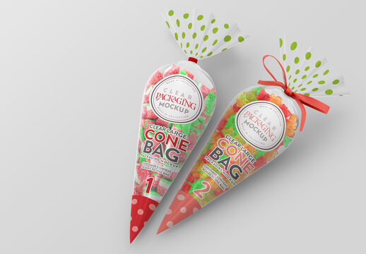 2 Clear Cone Bags Packaging Mockup with Customizable Content