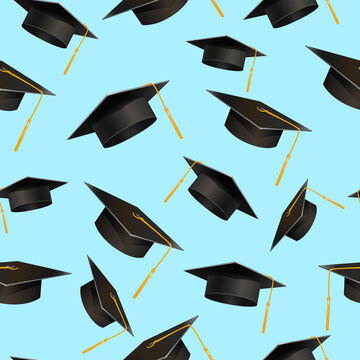 Graduate hat seamless pattern. Student black headdress with yellow tassel on blue background celebration of academic achievement with graduation successful wisdom vector.