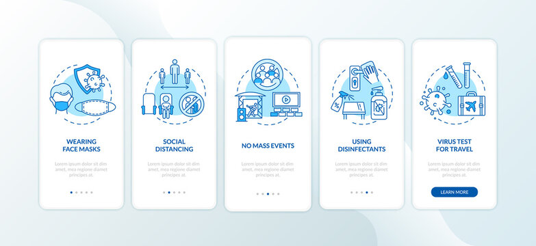 New public rules onboarding mobile app page screen with concepts. Mass events, social distance walkthrough 5 steps graphic instructions. UI vector template with RGB color illustrations