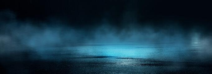 Dark abstract background. Empty dark street background at night. Spotlight reflects on the asphalt, blurry night lights. Smoke, fog.  Fotomurales