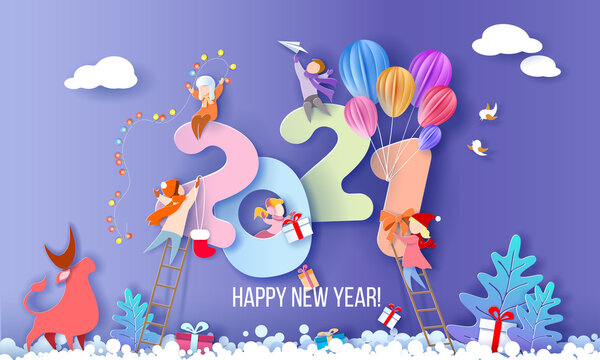 2021 New Year design card with kids on blue winter background