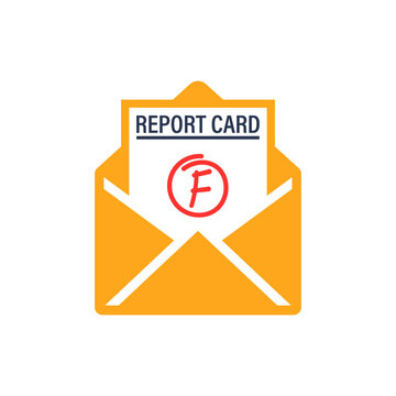 Bad report card and envelope icon. Clipart image isolated on white background.