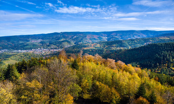 View from the Merkur mountain to the Murg Valley near Baden Baden, Baden Wuerttemberg, Germany