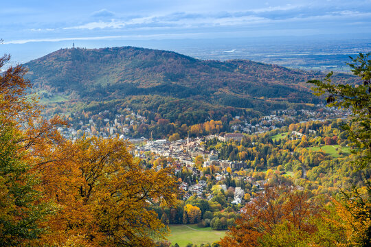 View from the Merkur mountain to the valley of Baden-Baden, Baden Wuerttemberg, Germany