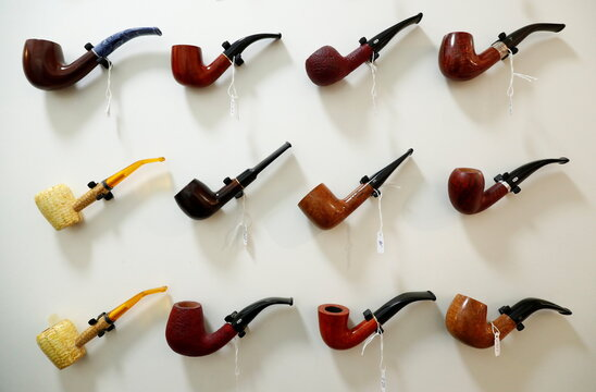 Tobacco pipes are seen on sale in a store amid the coronavirus disease (COVID-19) outbreak in Brussels