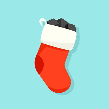 Christmas stocking with coal illustration. Clipart image.