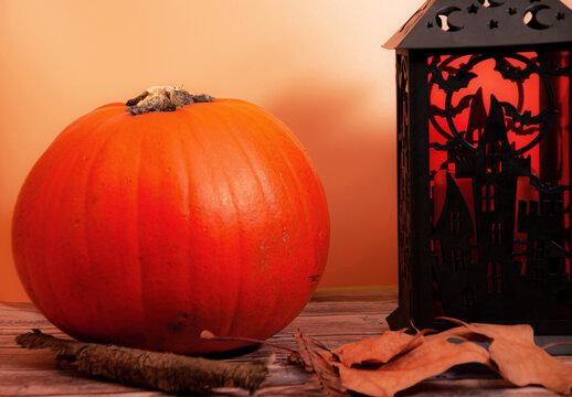 Halloween: pumpkin, lantern and dry leaves
