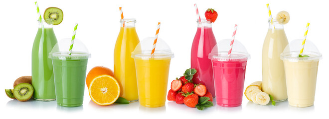 Drinks drink beverages smoothie smoothies fruit juice straw in a bottle and cup isolated