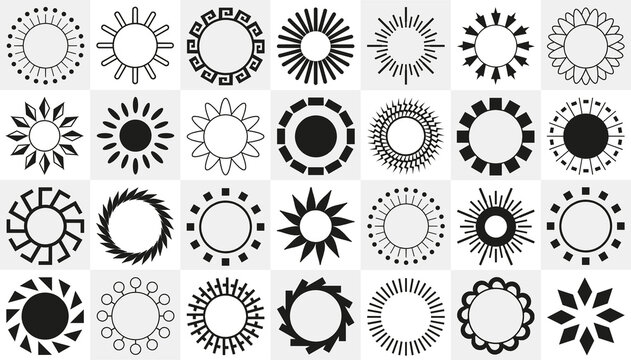 Collection of abstraction of different black sun - Vector