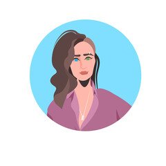 Wall Mural - young woman profile avatar beautiful girl face female cartoon character portrait vector illustration