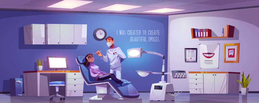 Dental room with woman sitting in chair and doctor. Vector cartoon illustration with dentist and girl patient in stomatology office in clinic or hospital. Tooth treatment and care concept