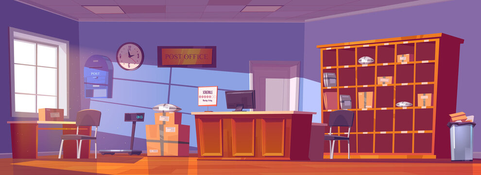 Post office, service for delivery and storage mail, parcels, orders and newspapers. Vector cartoon interior of postal with counter desk, cardboard boxes and letters on shelves, mailbox