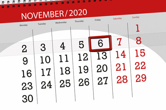Calendar planner for the month november 2020, deadline day, 6, friday
