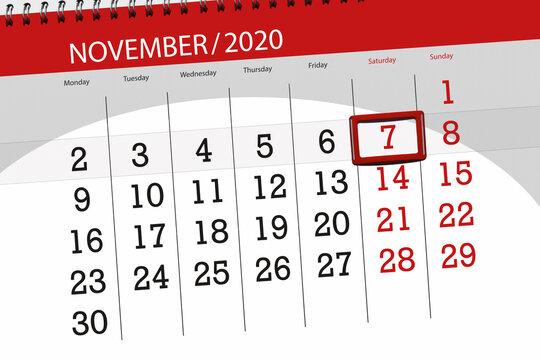 Calendar planner for the month november 2020, deadline day, 7, saturday