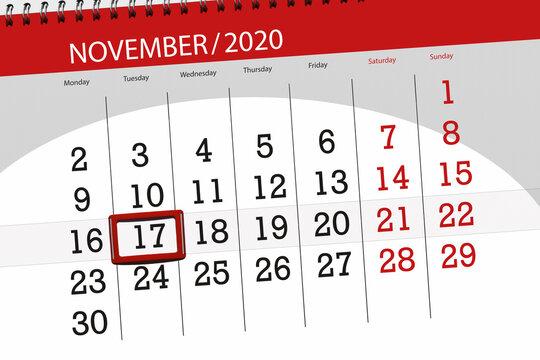 Calendar planner for the month november 2020, deadline day, 17, tuesday