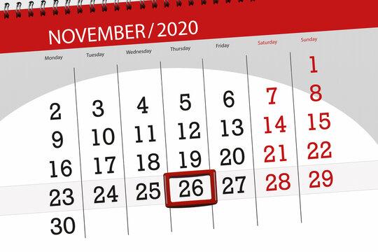 Calendar planner for the month november 2020, deadline day, 26, thursday