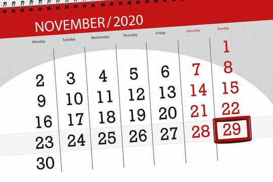 Calendar planner for the month november 2020, deadline day, 29, sunday