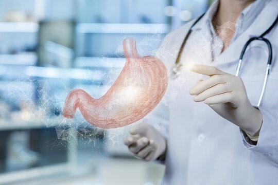 Patient stomach treatment diagnostics concept.