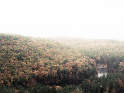 A rainy fall day on the Crow Hill Ledges in Leominster Massachusetts