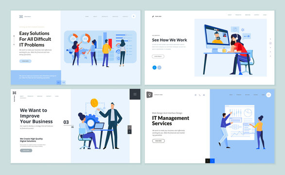 Set of website template designs of IT management, video call, business strategy, business analysis and services. Vector illustration concepts for website and mobile website development.