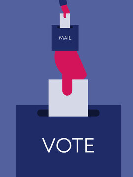 Voting by mail conceptual illustration. Hand placing envelope in post box stylized as a hand placing ballot in ballot box.