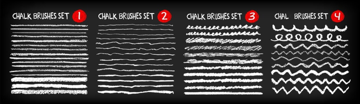 Set of hand painted chalk brushes, brush strokes and ornaments